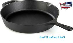 "12"" Cast Iron Skillet Pre-Seasoned Frying Cookware Cooking F"