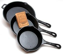 Old Mountain Cast Iron 3 pc  Skillet Set  Pre-Seasoned Cookw