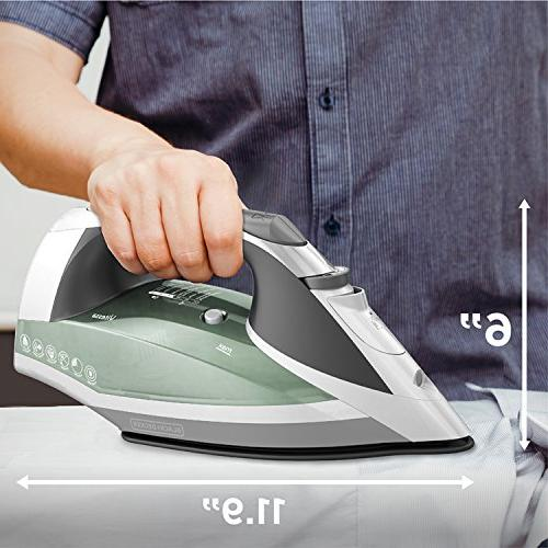 BLACK+DECKER Iron with Retractable Cord, Nonstick Soleplate, Sage,