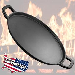 Large Cast Iron Pizza Pan Griddle Vintage Look Round Lightly