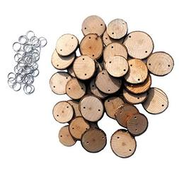 BeesClover 40Pcs Round Wooden Slices + 40Pcs Iron Loops DIY